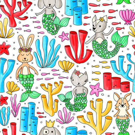 Seamless pattern mermaid animals cat dog bunny. Colorful kids background painted ocean design underwater animals with mermaid tails. Purrmaid. Cute children design for fabric, fashion wear, wallpaper. 写真素材