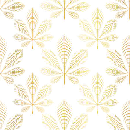 Chestnut leaves gold foil seamless vector pattern. Repeating nature autumn leaf background with faux metallic golden fall plants on white. Use for cards, elegant autumn decor, wallpaper, fabric.  イラスト・ベクター素材