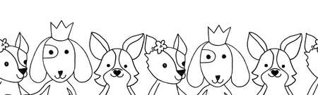 Cute animal kids seamless coloring border illustration black white. Children line art design dogs with crown flowers. Outline doodle dogs. For card, invite, coloring shirt, invitation, birthday party.