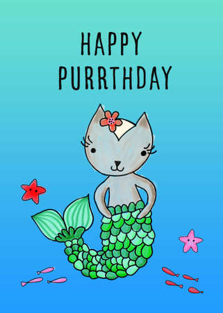 Birthday greeting card template for little girl cat mermaid. Purrmaid birthday party card cat with mermaid tail. Happy Purrthday. Cute Sea party invitation 写真素材
