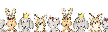 Animals cute seamless border on a white background.