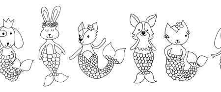 Seamless animal coloring border. Cute repeating mermaid pattern kids decor illustration black white. Children outline doodle line art design dog bunny cat. For coloring cards, invite, fabric trim.