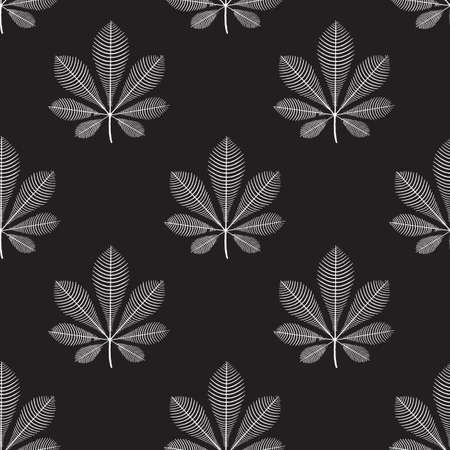 Seamless vector pattern Chestnut leaves white on black. Repeating monochrome nature autumn leaf background with fall plants. Use for fabric, fashion textiles, wrapping, surface pattern design.