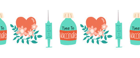 Vaccinate seamless vector border. Repeating horizontal pattern  vaccination dose bottle syringe floral heart hand drawn illustration. Time to vaccinate. Prevention, immunization Covid-19.  イラスト・ベクター素材