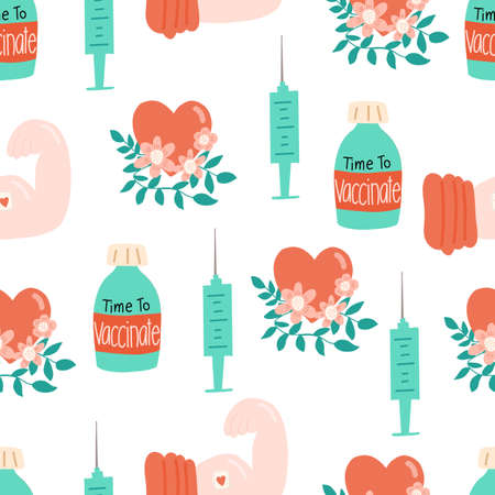 Vaccination seamless vector pattern. Vaccine bottle syringe floral heart repeating background.  イラスト・ベクター素材