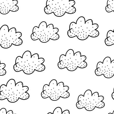 Seamless pattern with cute black doodle clouds on white. Childrens repeating background. Endless texture can be used for wallpaper, pattern fills, web page background, surface texture, textiles.