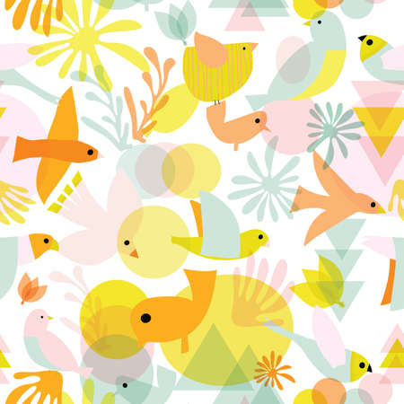 Cute birds seamless vector pattern. Abstract bird shapes collage repeating background pastel colors on white. Cute modern children design for fabric, kids wear, fashion, wallpaper, spring decor.