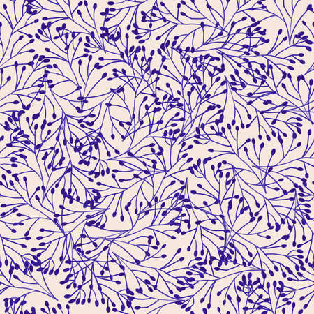 Blue beige seamless background from blue hand drawn contour flowers. Repeating abstract nature texture for fabric, tiles, wallpaper. Blue ink chinoiserie style dense floral surface pattern design