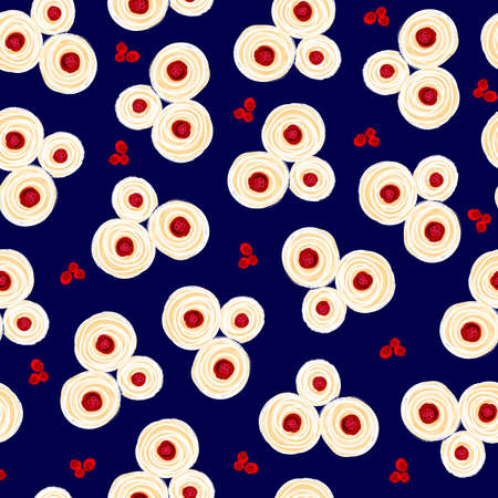 Painted floral seamless pattern. Hand drawn oil acrylic paint white red simple flowers on a blue background. Seamless surface pattern design tile for fabric, fashion, wallpaper, packaging.