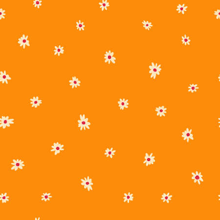 White ditsy flowers seamless background. Floral repeating pattern small flowers on orange. Ditsy print. Seamless texture. Surface pattern design for textile, fashion, fabric, wallpaper, summer spring.