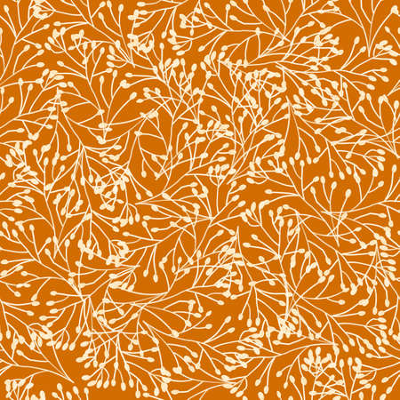 Seamless pattern botanical gold brown white beige floral hand drawn contour flowers. Repeating abstract nature background texture for fabric, wallpaper. Dense plants branches surface pattern design 写真素材