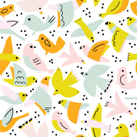 Seamless vector pattern cute flying birds. Abstract Scandinavian style bird shapes collage repeating background. Modern children design for fabric, kids wear, fashion, wallpaper, spring decor.
