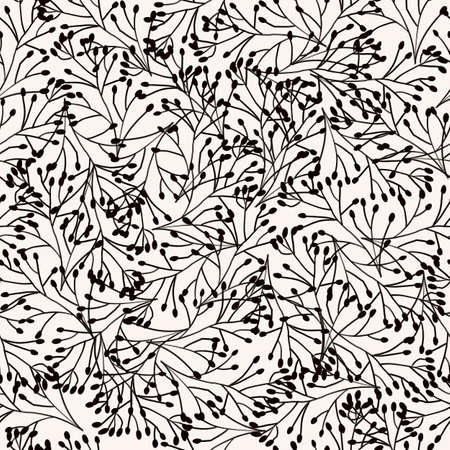 Black and White seamless pattern nature plants ornament, leaves grass branches. Repeating background delicate dense elegant monochrome nature backdrop for fabric, wallpaper. High quality illustration.