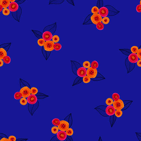 Blue pink orange floral pattern seamless. Bright hand painted flowers on royal blue background. Repeating modern Ditsy fashion print. Surface pattern design for textile, fashion, fabric, wallpaper. 写真素材