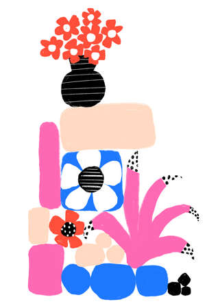 Abstract contemporary wall art on vertical white background. Matisse-inspired modern interior poster minimalist style flower vase plants stones blue red pink. Hand drawn flat illustration modern art. 写真素材