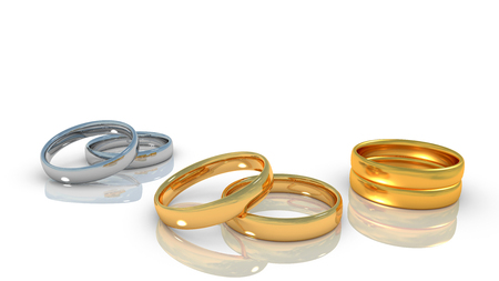alliances: Alliances of relationship life - engagement, marrige wedding, widowhood - on white background and reflect plane