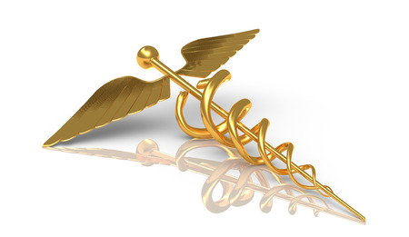 Caduceus gold - medical and comercial and business symbol - medical symbol as a health care and medicine icon with snakes crawling on a pole with wings on golden metal texture isolated on a white background