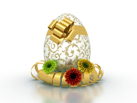 ribbon bow: Easter decorated egg present with golden ribbon bow and spring flowers - isolated in white background
