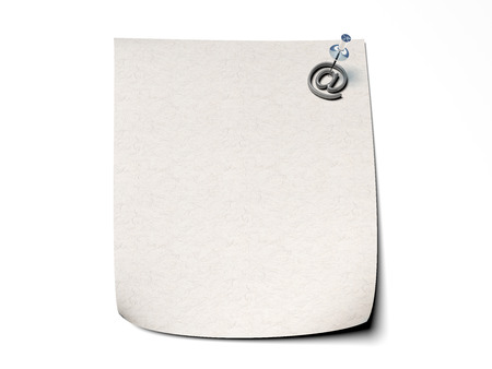 paper pin: memory note with paper pin over white with concept representing email, message, at-symbol object