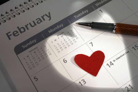 Shot taken highlighting valentines day on the calendar
