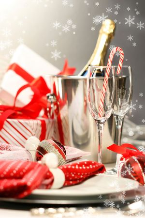 Christmas champagne with gifts against dark silver background