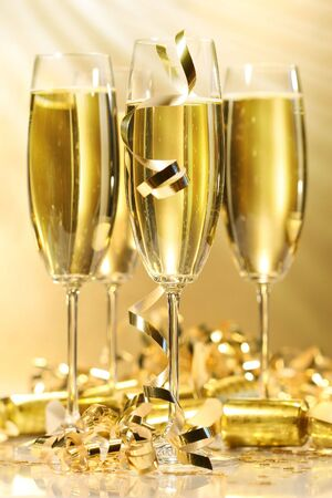 Glasses of golden champagne ready to party Stock Photo - 2522461