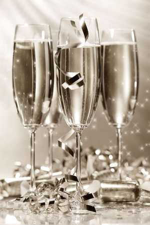Glasses of golden champagne ready to party Stock Photo - 2522477