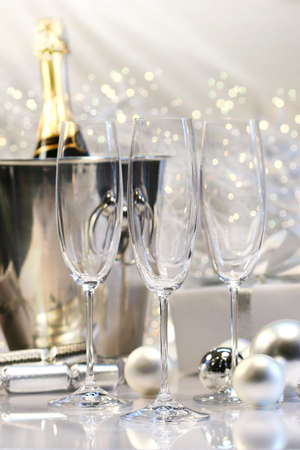 Three empty champagne glasses ready to be filled  Stock Photo - 2522452