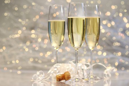 Threes glasses of champagne with silver background Stock Photo - 2522444