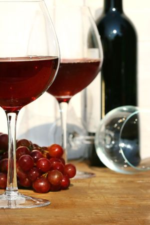 Two glasses of red wine on a table Stock Photo - 2522445