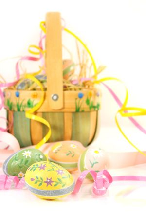 festivities: Easter basket and eggs ready for Easter festivities