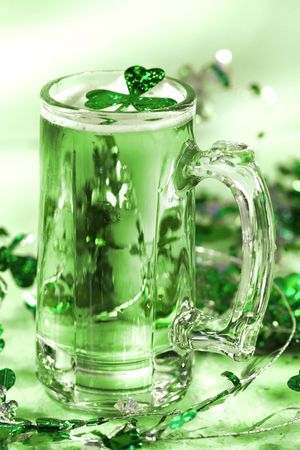 green tone: Mug of green beer for St Paticks Day festivities Green tone Stock Photo