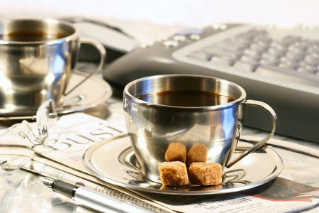 Cups of coffee ready for a quiet break from work Stock Photo