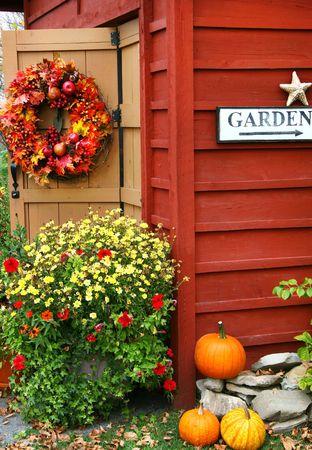 Autumn wreath on barn door