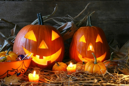 Carved jack-o-lanterns lit for halloween Stock Photo - 2547488