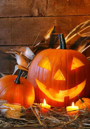 faced: Funny faced pumpkin ready for halloween