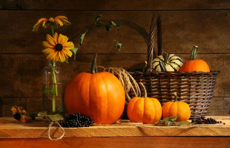 country life: Autumn still life with pumpkins and flowers