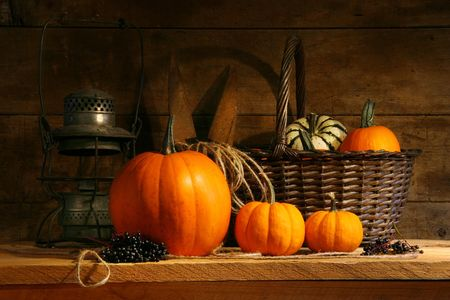 gourds: Basket on a shelf with gourds and pumpkins Stock Photo