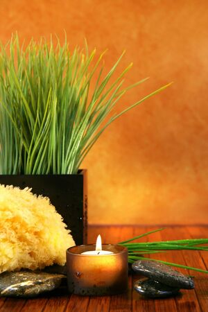 Spa setting with candle,sponge and herb grass Stock Photo - 2555410