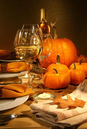 place to shine: Dinner settings with wine for Thanksgiving