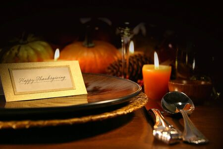 feasts: Table setting ready for Thanksgiving