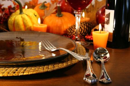 table setting: Table setting ready for Thanksgiving