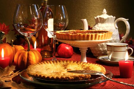 pecan: Thanksgiving desserts on a festive table