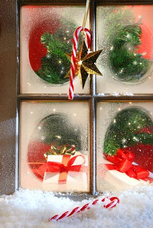 windows frame: Festive holiday window with frost and snow