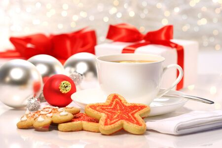 tea break: Time for a tea break during the holiday season Stock Photo