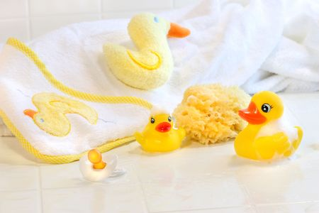 bathtime: Bathtime for  with toys and towel