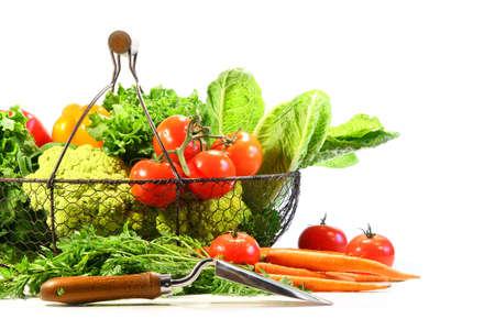 Summer vegetables with garden shovel on white background