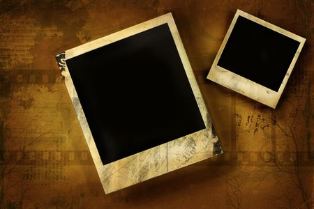 creative shot: Aged polaroids  against yellow grunge background Stock Photo