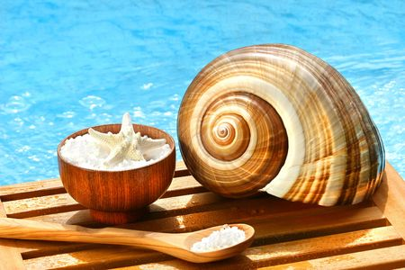 salts: Bath salts and sea shell by the pool