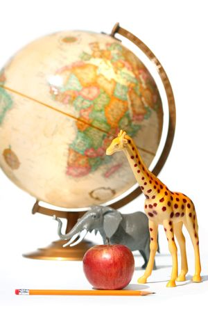 Globe with toys animals on white background photo